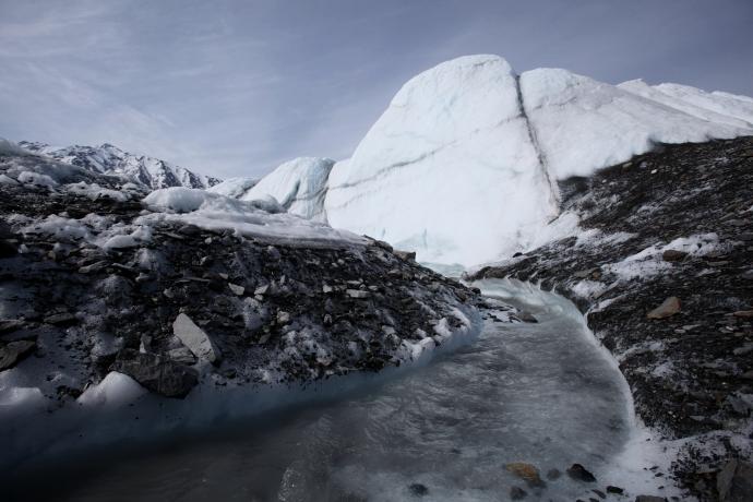 Streams of melting ice.