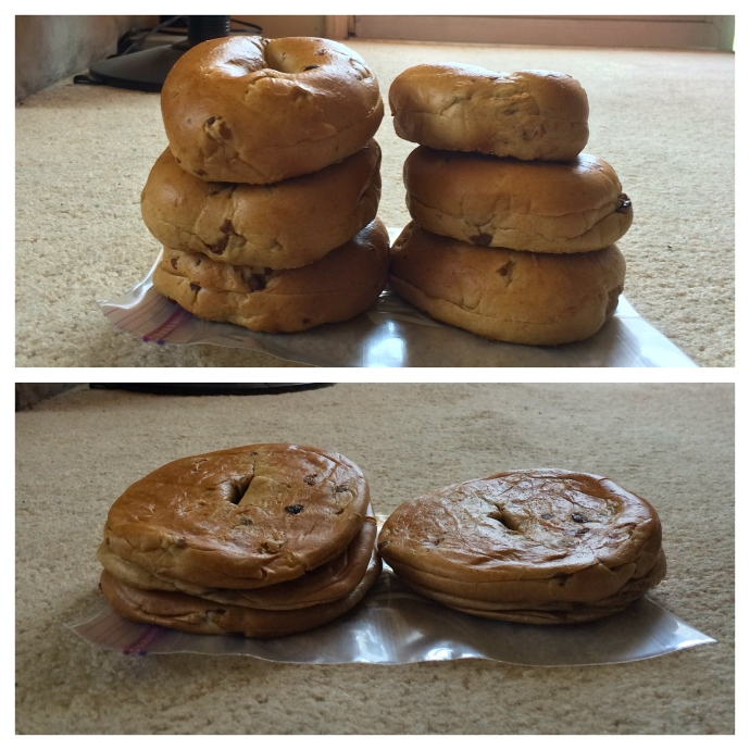 Smoosh your bagels to save space! Same amount of calories, but easier to pack.